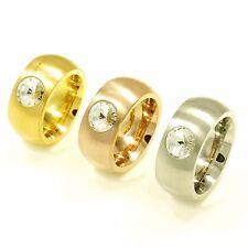 ! MASSIVER Edelstahl Ring breit bombiert Kristall von Swarovski ® UVP 29,99€ TOP