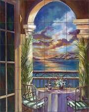 Ceramic Tile Mural Backsplash Cook Mediterranean Seascape Sunset Art GCS009