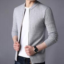 Casual Men Slim Fit Knit Zipper Cardigan Sweater Long Sleeve Outwear Jacket Coat