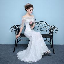 Off Shoulder Lace Ivory Wedding Dresses Mermaid Bride Robe Half Sleeve 2018