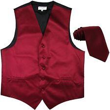 New men's tuxedo vest waistcoat & neck tie horizontal stripes formal burgundy
