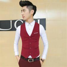 Men's Formal Wedding Business Waistcoat Vest Single breasted Sleeveless Jacket