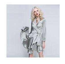 Elegante vestito abito tubino morbido grigio scollo corto maniche lunghe  4129 3d48a087024