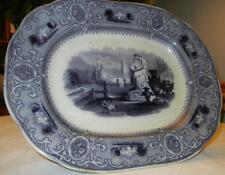 Antique 1845 Sydenham by J. Clementson England Mulberry Platter FLOW BLUE
