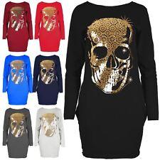 Ladies Gold Foil Skull Dresses Tulip Tunic Side Pockets Mini Bodycon Top UK 8-22