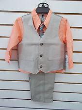 Toddler Boys Perry Ellis $50 4pc Khaki Striped Vest Suit Size 2T - 4T