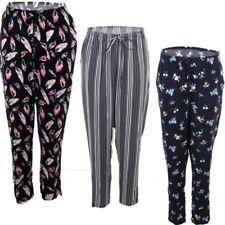femmes FEUILLE FLEUR RAYURE EXTENSIBLE EN VRAC grande taille élastique pantalon