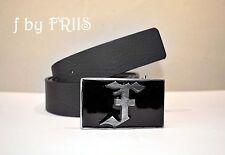 Gürtel by FRIIS *Leder Gürtel black* Belt mit Logo Metall Schnalle* Neu