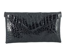 Neat envelope patent croc clutch bag