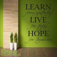 Imparare a vivere la speranza di adesivi murali preventivo-Camera da letto salotto Home Wall Art Decalcomania X249