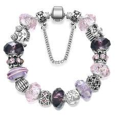 NEW MC Silver Tree of Life Car Pink Purple Murano Beads European Charm Bracelet