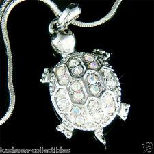 w Swarovski Crystal Sea ~TURTLE~ Tortoise terrapins Charm Pendant chain Necklace