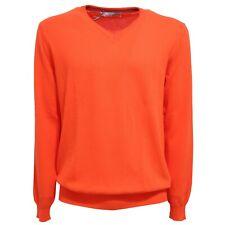7841T maglione uomo GREY DANIELE ALESSANDRINI arancione sweater cotton man