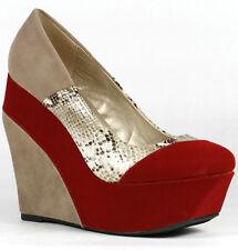 Red Beige Velvet Snake Skin Embossed Colorblock High Heel Platform Wedge Qupid