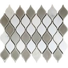 White Grey Pattern Porcelain Mosaic Tile Kitchen Shower Wall Backsplash