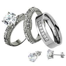 His Hers Wedding Ring Set Round CZ Stainless Steel Titanium Men Band + Stud ff