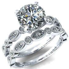 Round Diamond 4 Prong Loop Diamond Side Engagement Bridal Set Silver