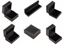 Jet Black Leatherette Jewellery Shop Packaging Box Ring Earring Bracelet Watch