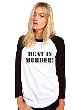Meat Is Murder Vegetarian Vegan - Animal Rights Womens Baseball Top