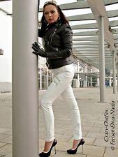 Lederhose Leder Hose Weiß Zipper Knalleng Größe 32 - 58 XS - XXXL