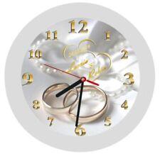 LAUTLOSE Wanduhr Geschenk Hochzeitstag Hochzeitstaggeschenk weiß Trauringe Ehe 5