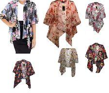 New Ladies Womens Black Floral Print Waterfall Short Sleeves Kimono Jacket
