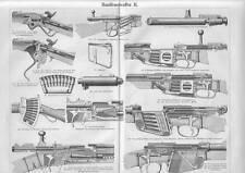 HANDFEUERWAFFEN Gewehr Schloss Magazin HOLZSTICHE von 1897 Repetiergewehr