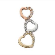 9CT HALLMARKED WHITE, YELLOW & ROSE GOLD 0.15CT DIAMOND SET 3 HEARTS PENDANT