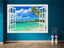 Paradise Spiaggia mare palma Finestra Wall Art Adesivo Trasferimento Decalcomania