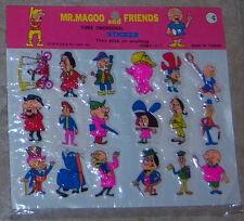 "Mr. Magoo and Friends 18 Large 3-D 2"" Sticker Set Vintage Still Sealed 1979 Mint"