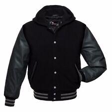 Varsity Letterman Hoodie Jacket Black Wool With Dark Grey Real Leather Sleeves