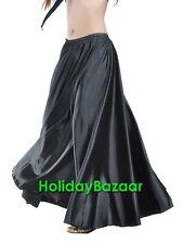Black Satin Skirt Women Lady Full Circle Belly Dance Tribal Long Maxi Jupe