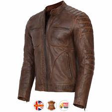 Mens Motorcycle Vintage Distressed Brown Genuine Leather Jacket Slim Fit Biker