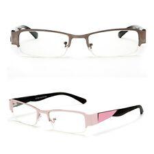 Half Frame Clear Lens Glasses Rectangular Pink Black Non Prescription