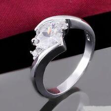 Elegant 925 Sterling Silver Rings Clear Zircon Rings Vogue Ladies Crystal Rings