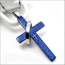 Plata / Azul / Negro De Acero Inoxidable Padrenuestro Cruz Y Anillo Collar