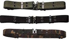 """Military Mini Pistol Belt w/ Metal Buckle (50"""" x 1.25"""") BLACK OD GREEN WOODLAND"""