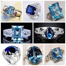 Women 925 Silver Blue Sapphire Diamond Rings Engagement Jewelry SZ#6-10 Rings