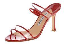 Nuevo Manolo Blahnik Muluca PVC Sandalias Charol Rojo Slide Zapatos 37.5 41.5 42