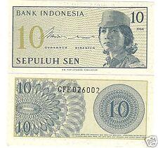 INDONESIA GEM UNC 1964 10 SEN CRISP NOTE~FREE SHIPPING~