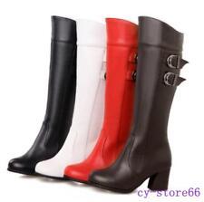 Womens Punk Side Zipper Buckle Leather Block Heel Casual Winter Knee High Boots