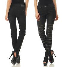 Arizona Skinny Fit Jeans Damen Stretch 666281 Destroyed 5 Pocket Gr. 17-80 Black