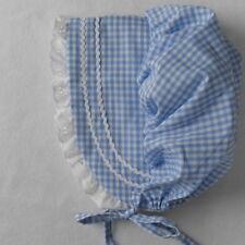 Baby Bonnet Sunhat Sunbonnet BLUE GINGHAM hat sz nb,3,6,9,12,18 mo