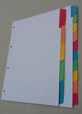 Filofax A4 White Board Dividers Insert Refill with Multicoloured Mylar Tabs