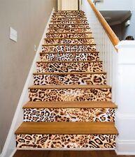 3D Leopard Stair Risers Decoration Photo Mural Vinyl Decal Wallpaper AU
