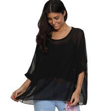 Plus Tunic Tops Blouse Kimono Loose Waterfall Chiffon Kaftan Poncho Shirt 16-22