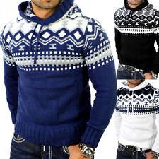 Reslad Herren Kapuzenpullover Grobstrick Winter-Pullover Norweger Hoodie RS-3013