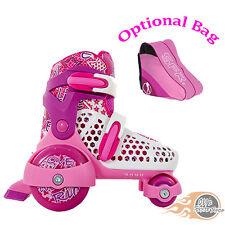 Sfr stomper réglable quad patins à roulettes filles rose-en option sac