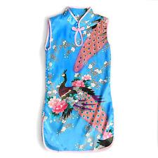 Girl Chinese Dress Qipao Mandarin Gown Party Cheongsam Peacock Peony Blue Pink