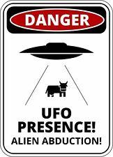FUNNY Cartello Di Avvertimento Pericolo ALIENO UFO presenza Autoadesivo Autoadesivo
